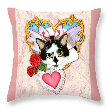 Throw Pillow featuring the painting My Feline Valentine Tuxedo Cat by Carrie Hawks