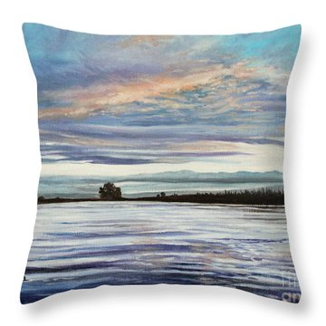 My First Sunset Throw Pillow by Elizabeth Robinette Tyndall