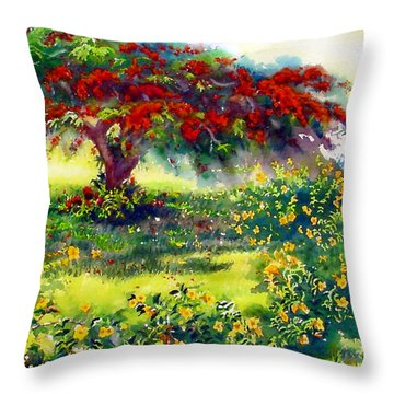 My Flamboyant Tree Throw Pillow by Estela Robles