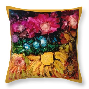 Throw Pillow featuring the painting My Flower Garden by Suzanne Canner
