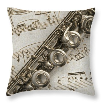 My Flute Photo Sketch Throw Pillow