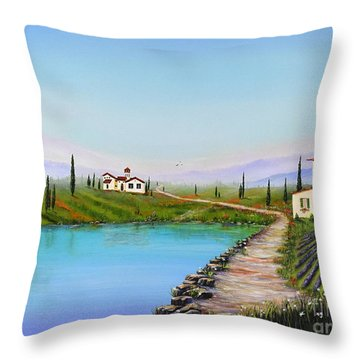 Throw Pillow featuring the painting My Garden by Mary Scott
