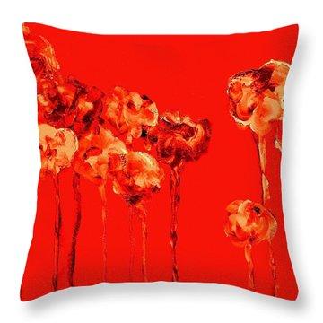 My Garden - Red Throw Pillow