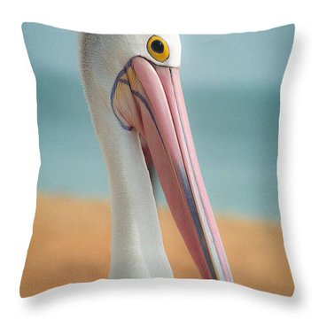 Throw Pillow featuring the photograph My Gentle And Majestic Pelican Friend by T Brian Jones