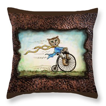 Living Flamboyantly Leather Border Throw Pillow by Retta Stephenson