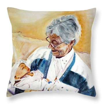 my granddaughter Leonie with her great grandmum Throw Pillow by Helmut Rottler