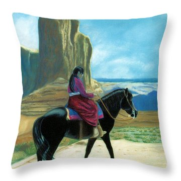 Throw Pillow featuring the pastel My Grandfather's Pony by Jan Amiss