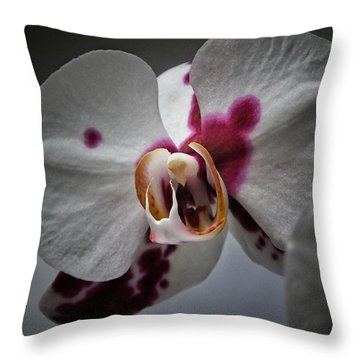 My Growling Dragon Orchid. Throw Pillow by Karen Stahlros