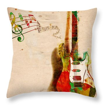 Throw Pillow featuring the digital art My Guitar Can Sing by Nikki Smith