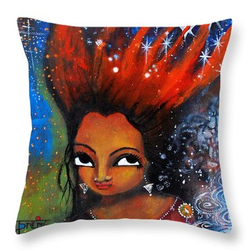 Throw Pillow featuring the mixed media My Hair Is Being Pulled By The Stars  by Prerna Poojara