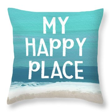 My Happy Place Beach- Art By Linda Woods Throw Pillow