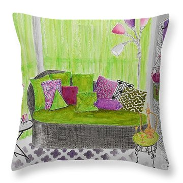My Happy Place -- Drawing Of Colorful Moroccan Porch Throw Pillow