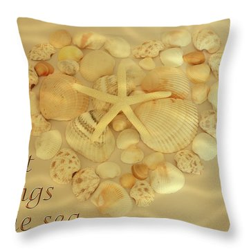 Throw Pillow featuring the photograph My Heart Belongs To The Sea by Angie Tirado