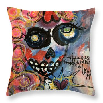 Throw Pillow featuring the painting My Heart Is So Happy To Know You by Laurie Maves ART