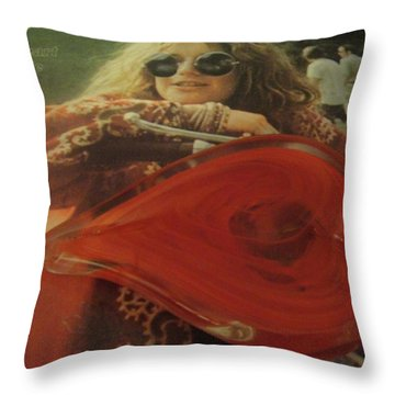 My Heart Loves Janis Joplin Throw Pillow