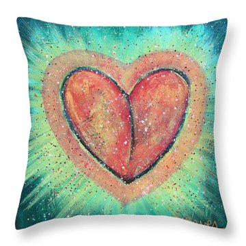 My Heart Loves You Throw Pillow by Laurie Maves ART