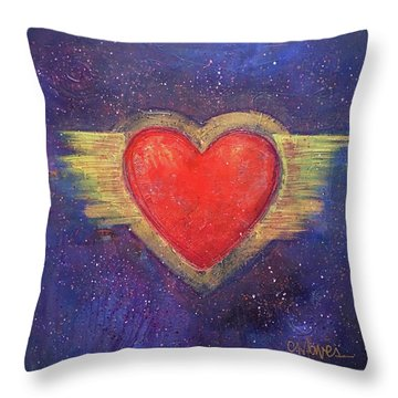 My Heart My Strength Throw Pillow by Laurie Maves ART