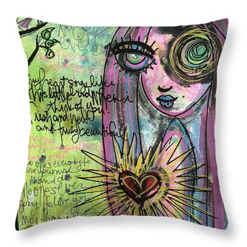 My Heart Sings Like This Little Bird Throw Pillow by Laurie Maves ART