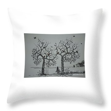 My House Is On That Side Throw Pillow by Usha Rai