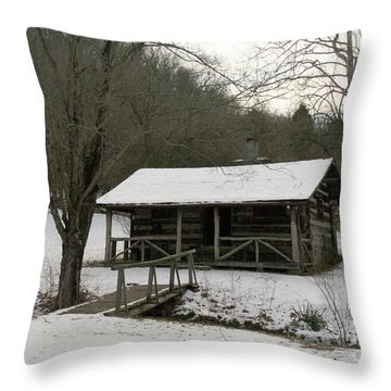 My Lil Cabin Home On The Hill In Winter Throw Pillow