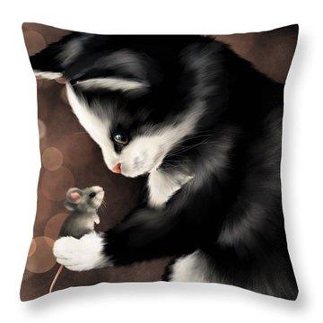 My Little Friend Throw Pillow by Veronica Minozzi