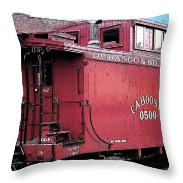 My Little Red Caboose Throw Pillow