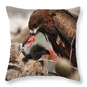 My Mom Feeding Me Throw Pillow