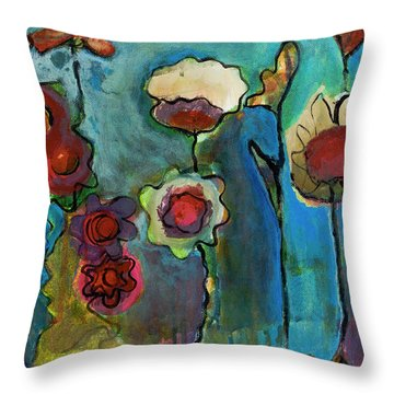 Throw Pillow featuring the painting My Mother's Garden by Susan Stone