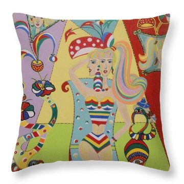 Throw Pillow featuring the painting My Name Is Jesica by Marie Schwarzer