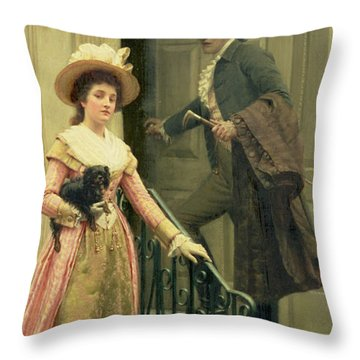 My Next Door Neighbor Throw Pillow by Edmund Blair Leighton