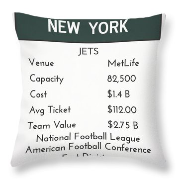 My Nfl New York Jets Monopoly Card Throw Pillow