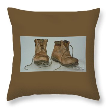 My Old Hiking Boots Throw Pillow by Annemeet Hasidi- van der Leij