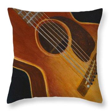 My Old Sunburst Guitar Throw Pillow