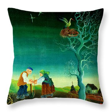 My Old Village  Throw Pillow