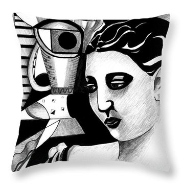 My Outing With A Young Woman By Picasso Throw Pillow