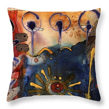 My Own Painted Desert - Completed Throw Pillow by Angela L Walker