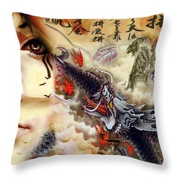 Toyotama-hime Dragon Goddess Throw Pillow by Greg Sharpe