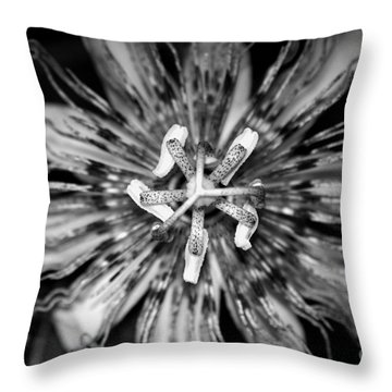 My Passionflower - Black And White Throw Pillow