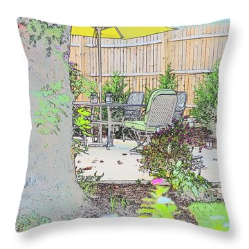 Throw Pillow featuring the photograph My Patio by EDi by Darlene