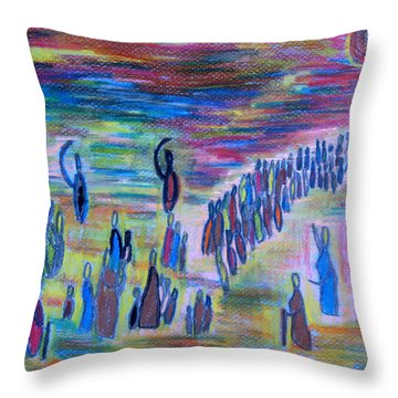 Throw Pillow featuring the drawing My People by Vadim Levin