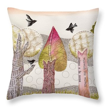 My Pink Trees Throw Pillow