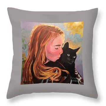 My Purring Friend Whiskers Throw Pillow