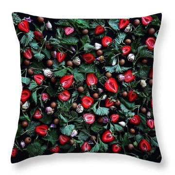 My Real Strawberry Patch Throw Pillow
