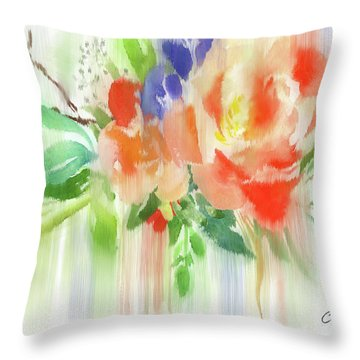 Throw Pillow featuring the painting My Roses Gently Weep by Colleen Taylor