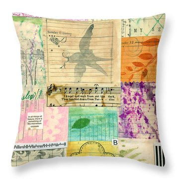 My Secret - Paper Collage Throw Pillow by Sandra Foster