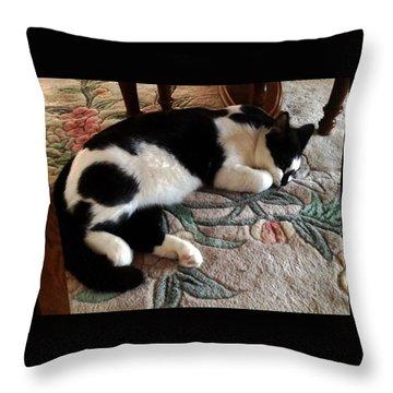 My Sleeping Cat Throw Pillow by Vicky Tarcau