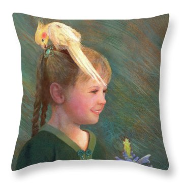 Throw Pillow featuring the painting My Sparkly Trinket by Nancy Lee Moran