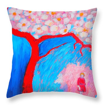 Throw Pillow featuring the painting My Spring by Ana Maria Edulescu