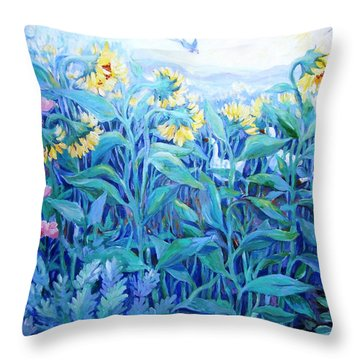 Throw Pillow featuring the painting My Summer Garden  by Trudi Doyle