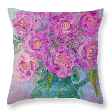 My Summer Roses Throw Pillow